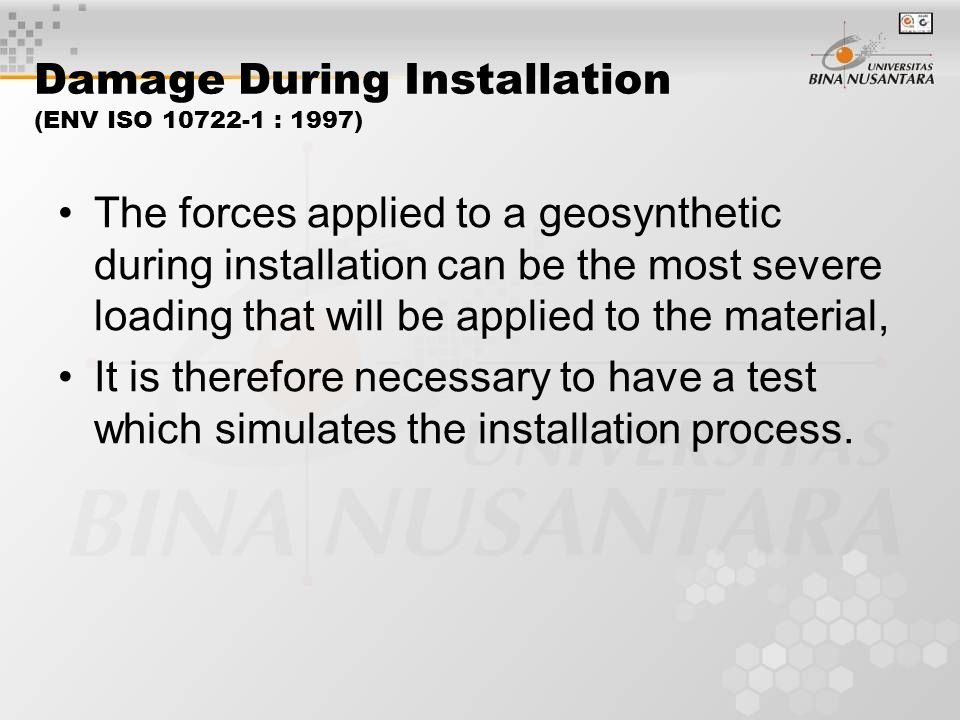 Damage During Installation (ENV ISO 10722-1 : 1997)