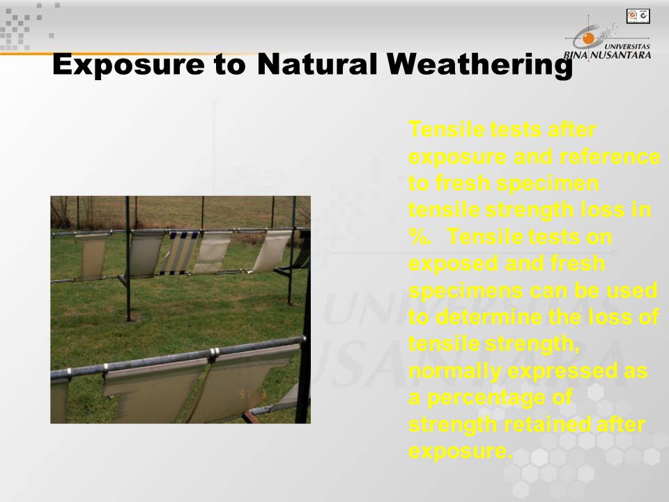 Exposure to Natural Weathering