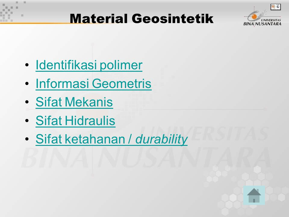 Material Geosintetik Identifikasi polimer. Informasi Geometris.