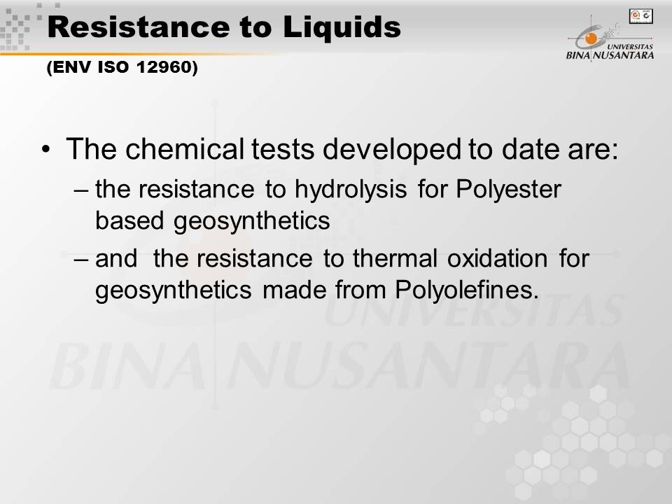 Resistance to Liquids (ENV ISO 12960)