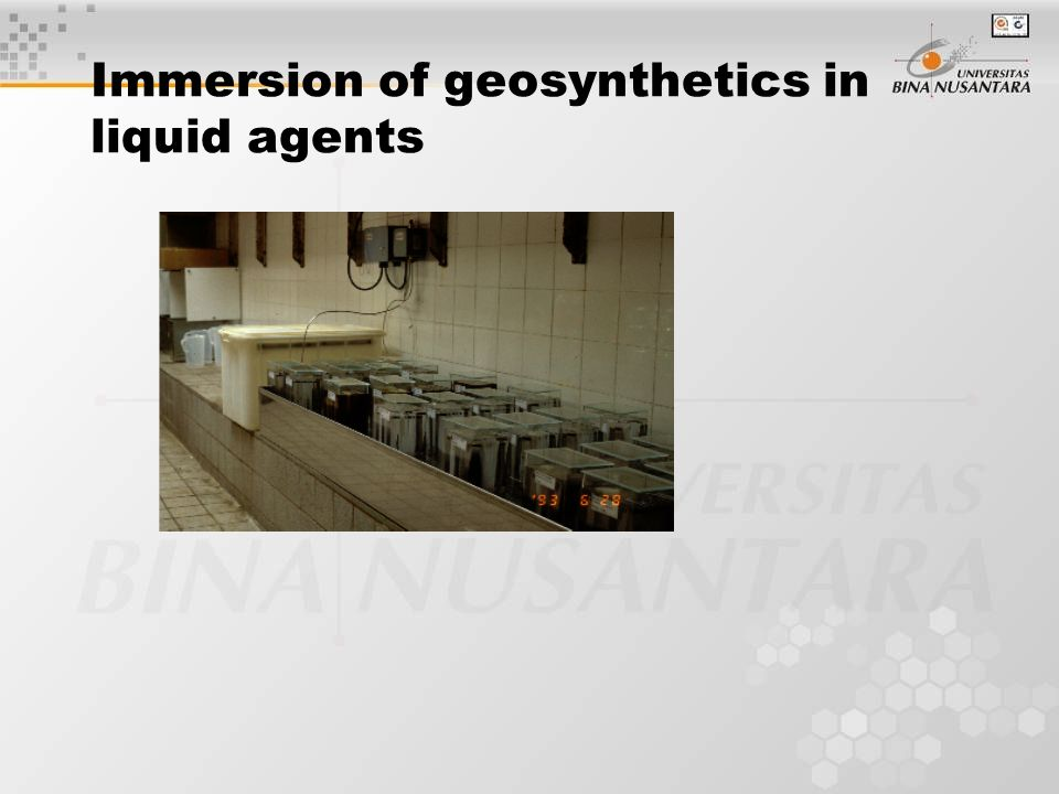Immersion of geosynthetics in liquid agents