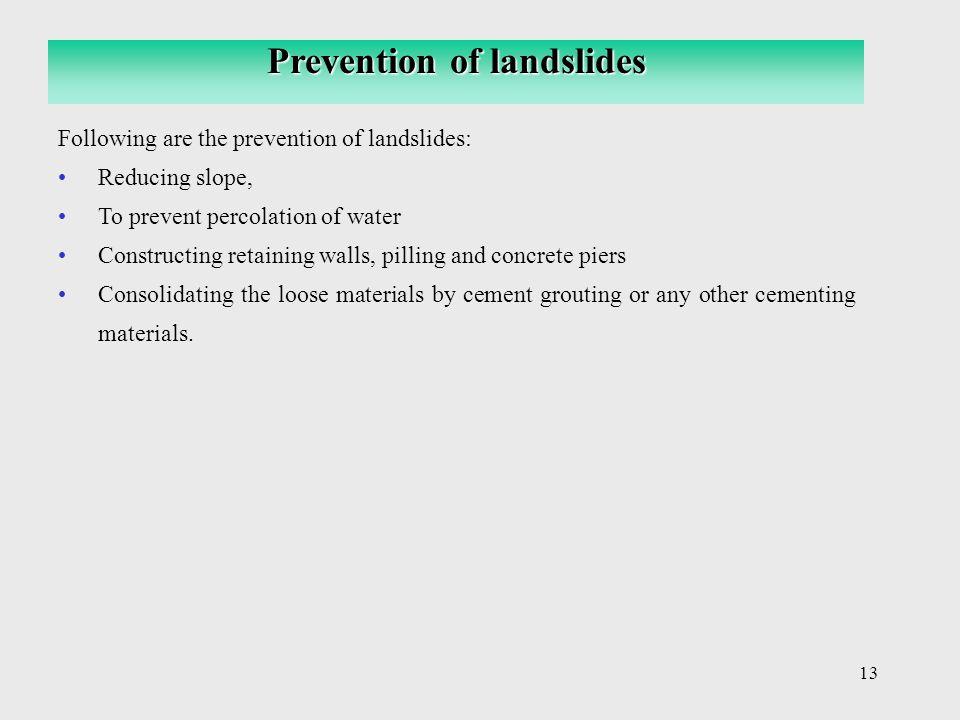 Prevention of landslides