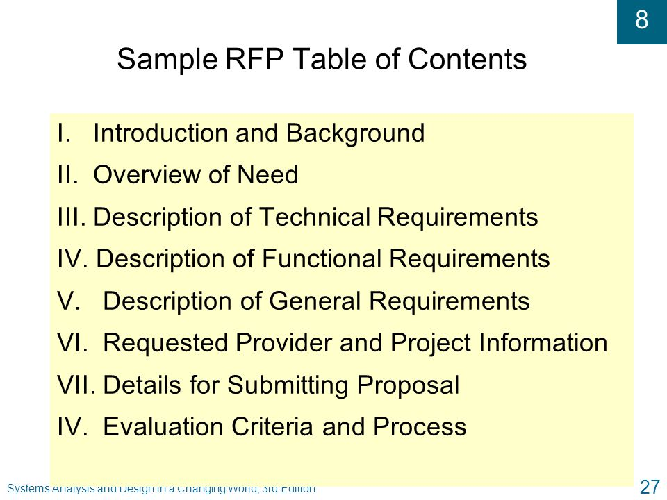 Sample RFP Table of Contents