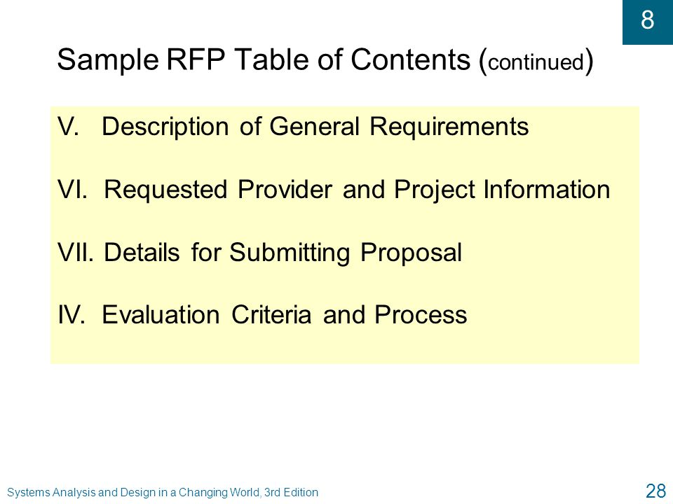 Sample RFP Table of Contents (continued)