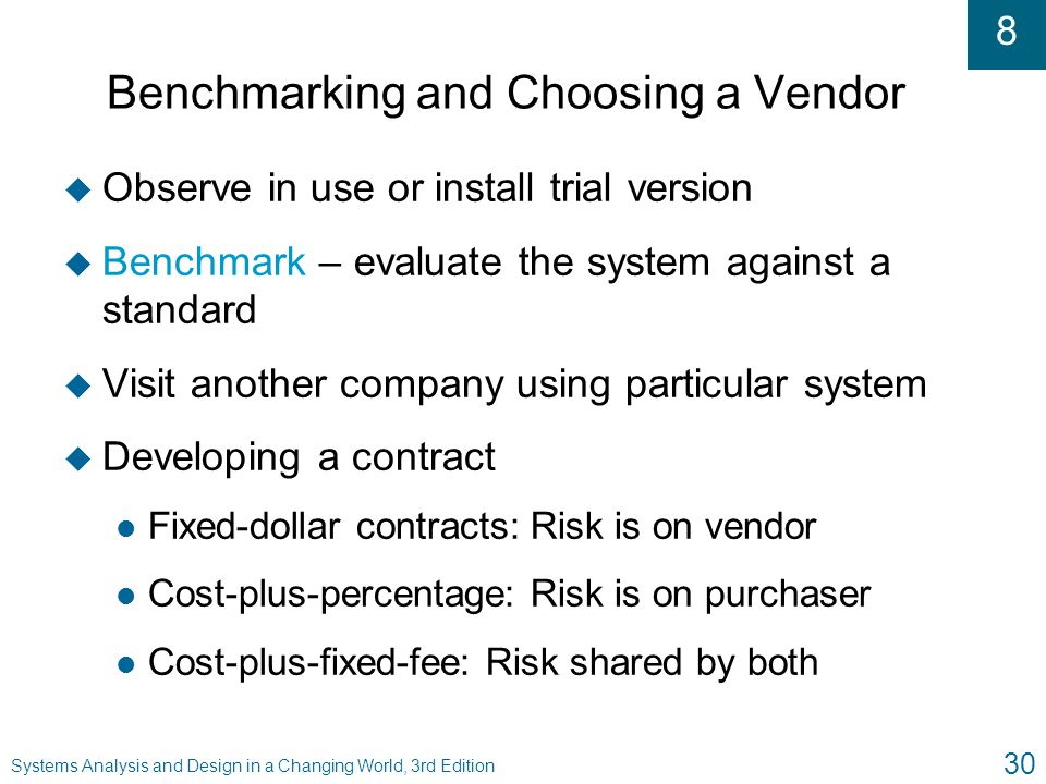 Benchmarking and Choosing a Vendor