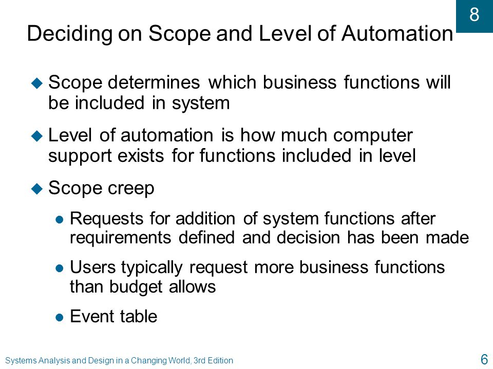 Deciding on Scope and Level of Automation