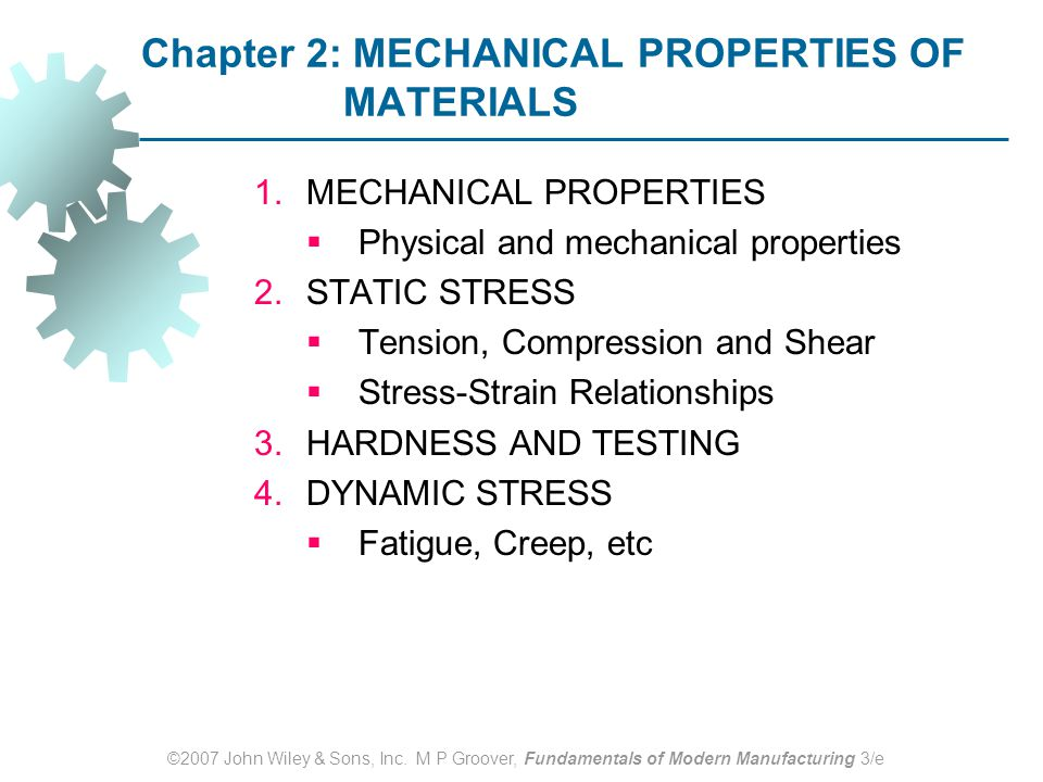 Chapter 2: MECHANICAL PROPERTIES OF MATERIALS