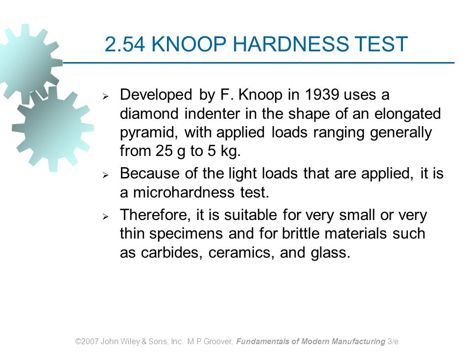 2.54 KNOOP HARDNESS TEST