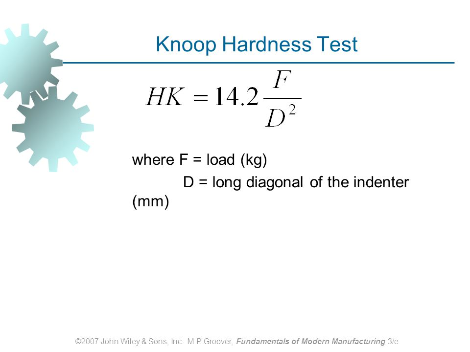 Knoop Hardness Test where F = load (kg)