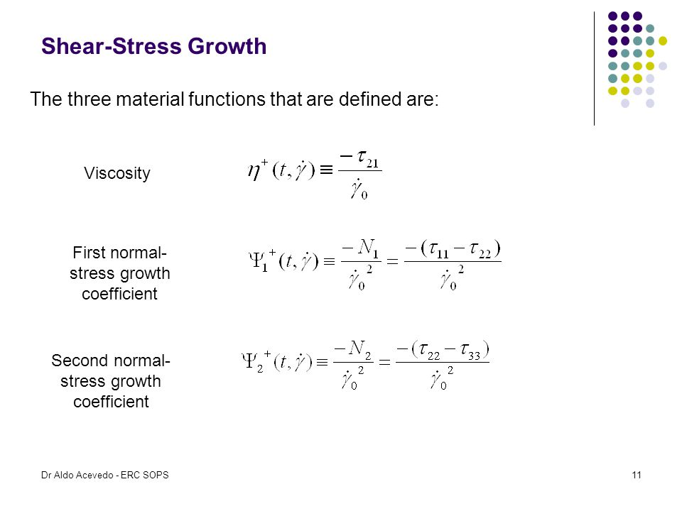 Shear-Stress Growth The three material functions that are defined are: