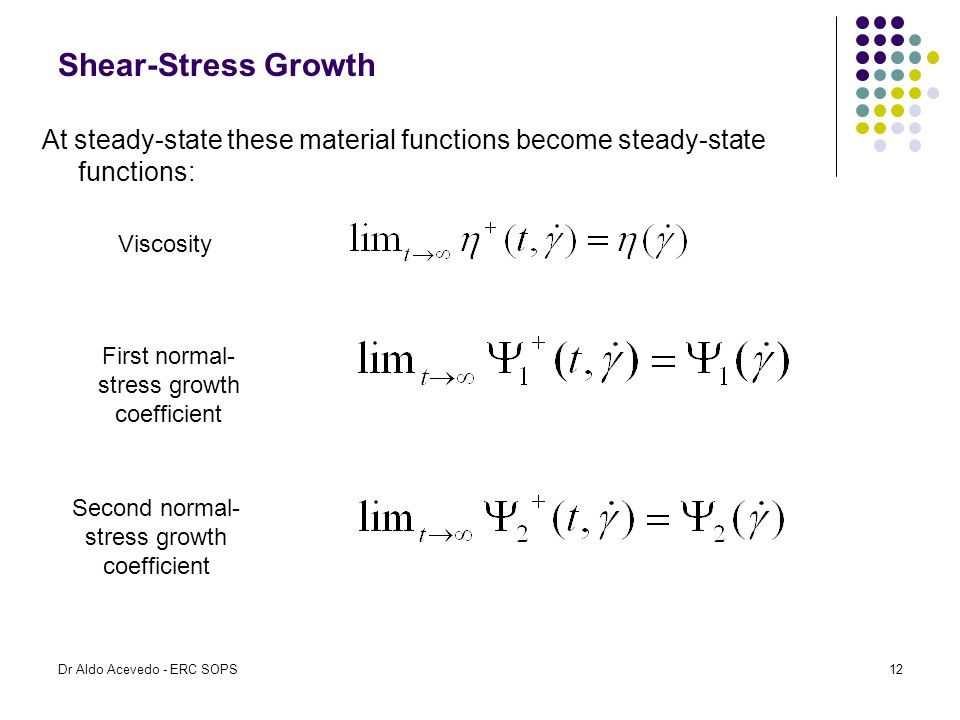 Shear-Stress Growth At steady-state these material functions become steady-state functions: Viscosity.