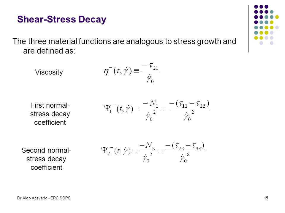 Shear-Stress Decay The three material functions are analogous to stress growth and are defined as: Viscosity.