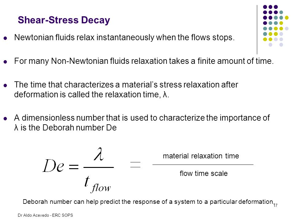 Shear-Stress Decay Newtonian fluids relax instantaneously when the flows stops.