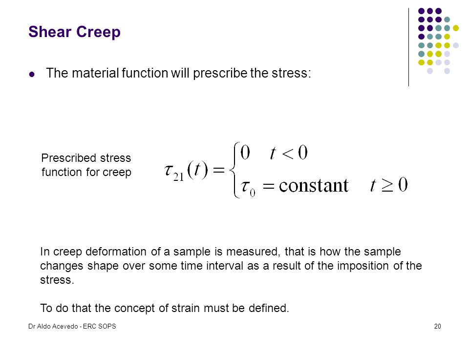 Prescribed stress function for creep