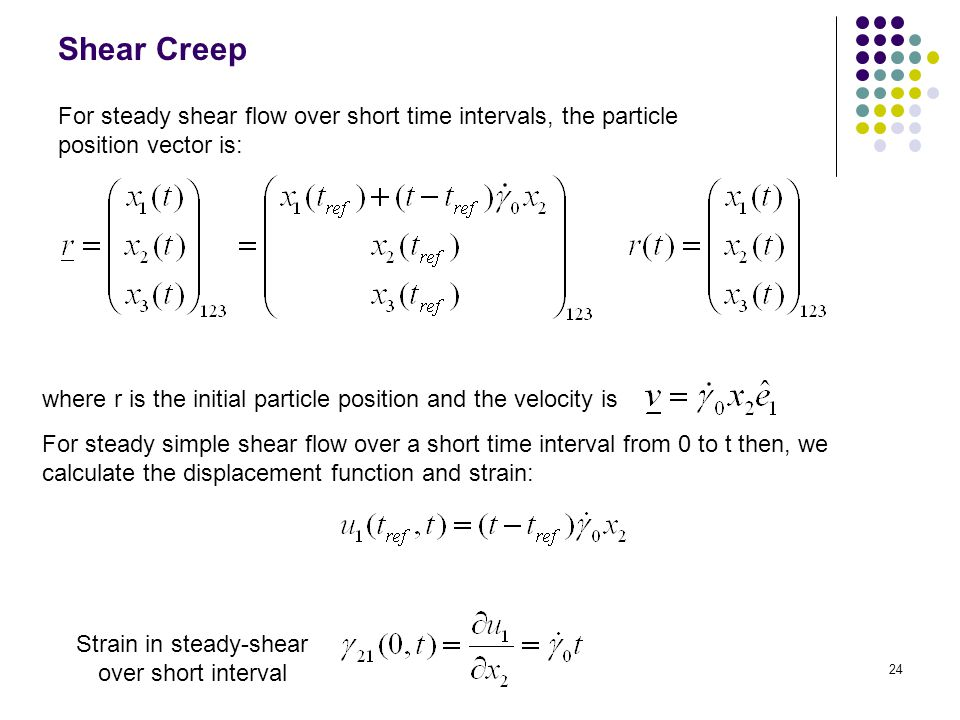 Strain in steady-shear over short interval