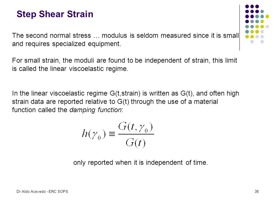 Step Shear Strain The second normal stress … modulus is seldom measured since it is small and requires specialized equipment.