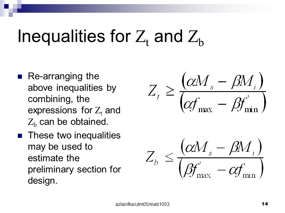 Inequalities for Zt and Zb