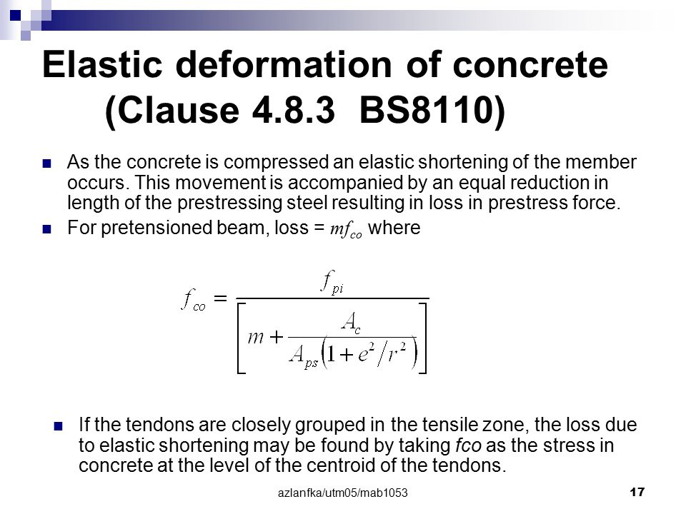 Elastic deformation of concrete (Clause 4.8.3 BS8110)