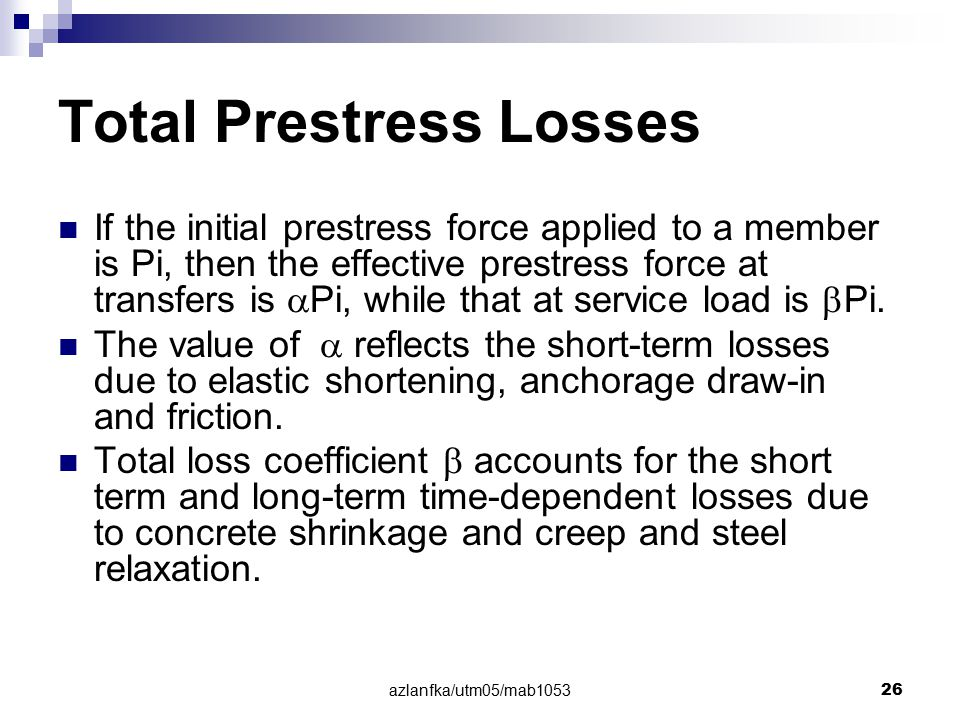 Total Prestress Losses