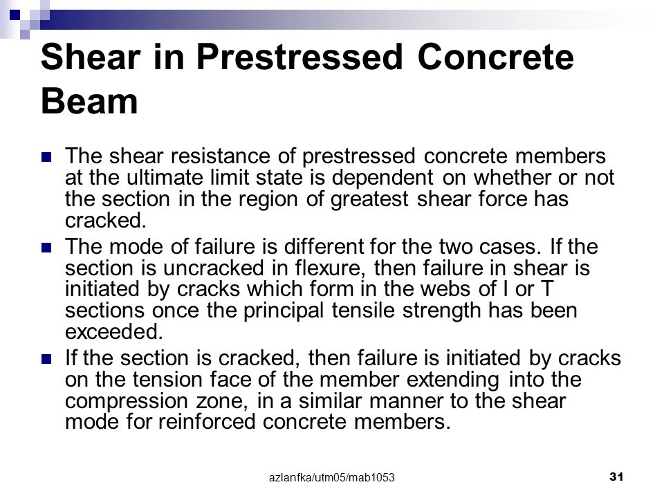 Shear in Prestressed Concrete Beam