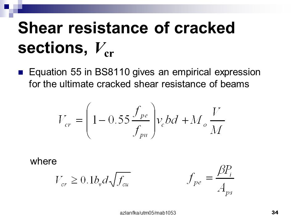 Shear resistance of cracked sections, Vcr