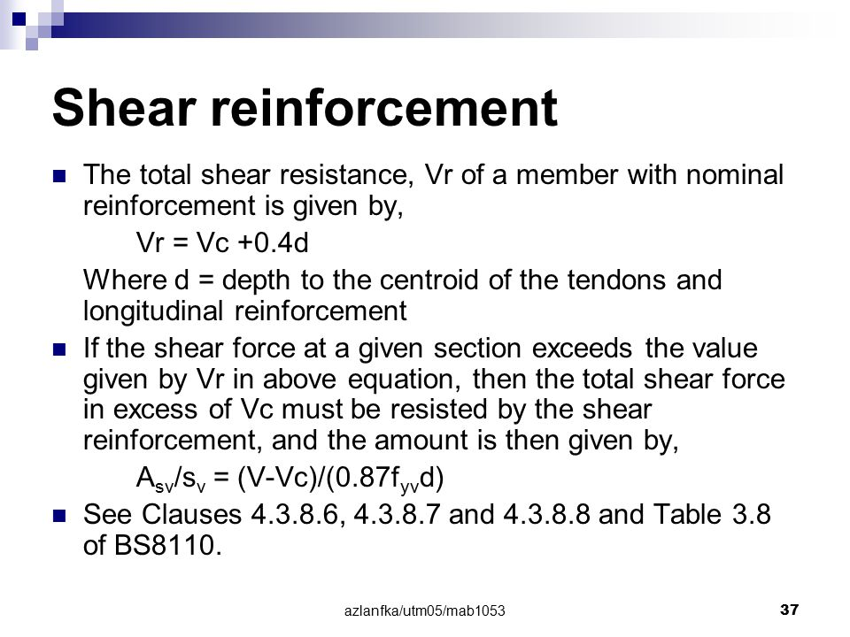Shear reinforcement The total shear resistance, Vr of a member with nominal reinforcement is given by,