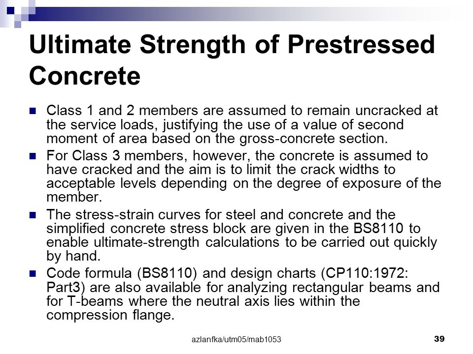 Ultimate Strength of Prestressed Concrete