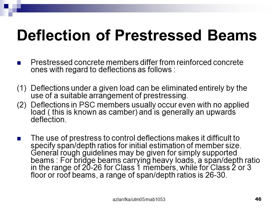 Deflection of Prestressed Beams