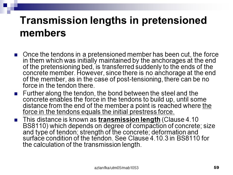 Transmission lengths in pretensioned members