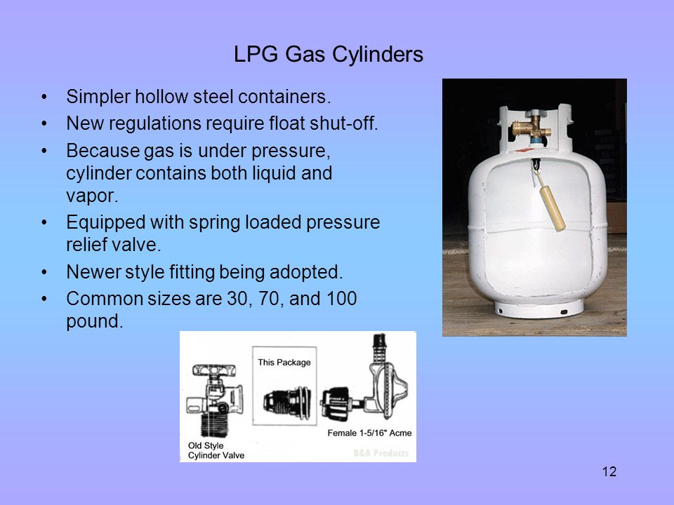 LPG Gas Cylinders Simpler hollow steel containers.