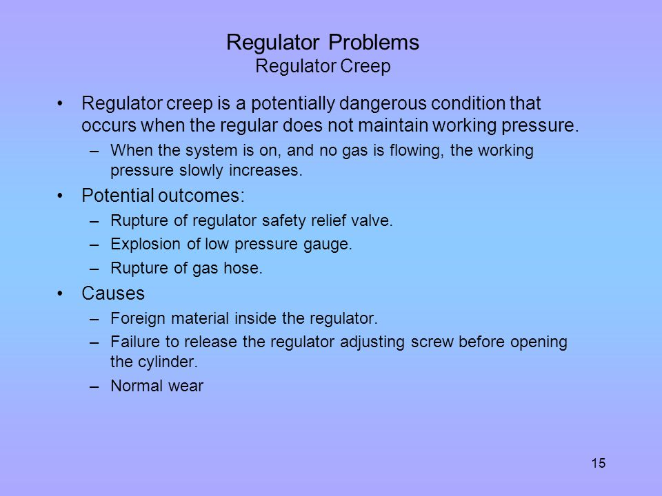 Regulator Problems Regulator Creep