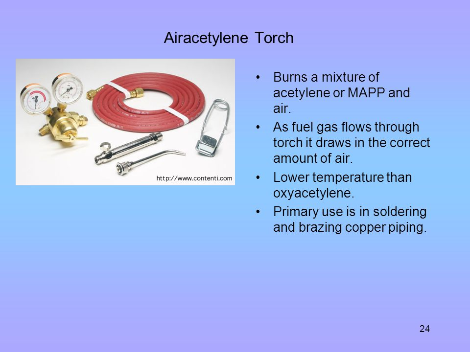 Airacetylene Torch Burns a mixture of acetylene or MAPP and air.