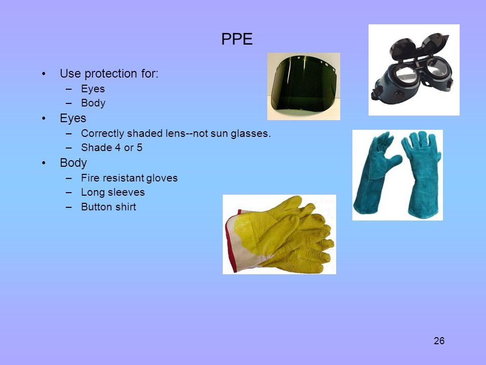 PPE Use protection for: Eyes Body