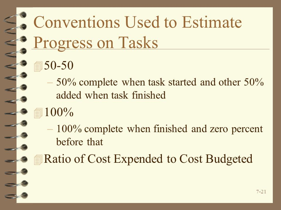 Conventions Used to Estimate Progress on Tasks