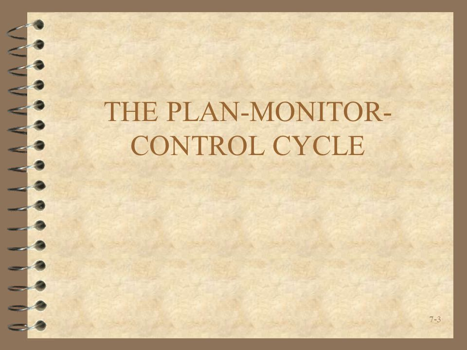 THE PLAN-MONITOR-CONTROL CYCLE