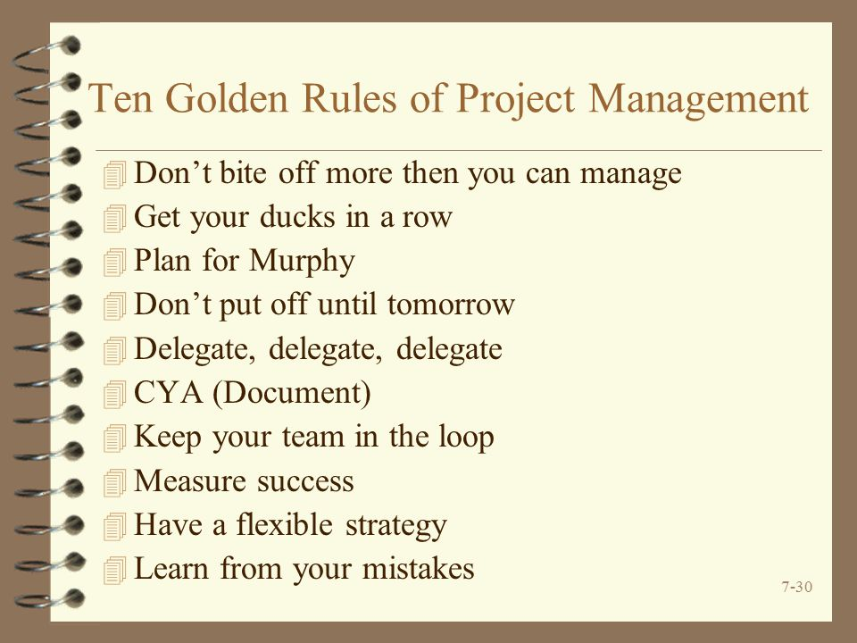 Ten Golden Rules of Project Management