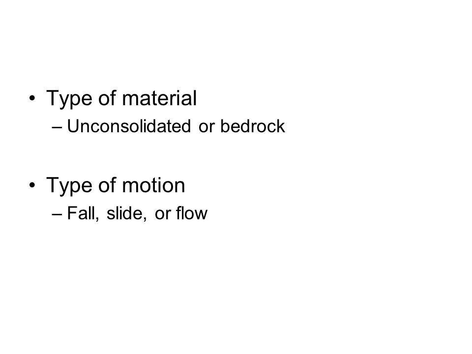 Type of material Type of motion Unconsolidated or bedrock