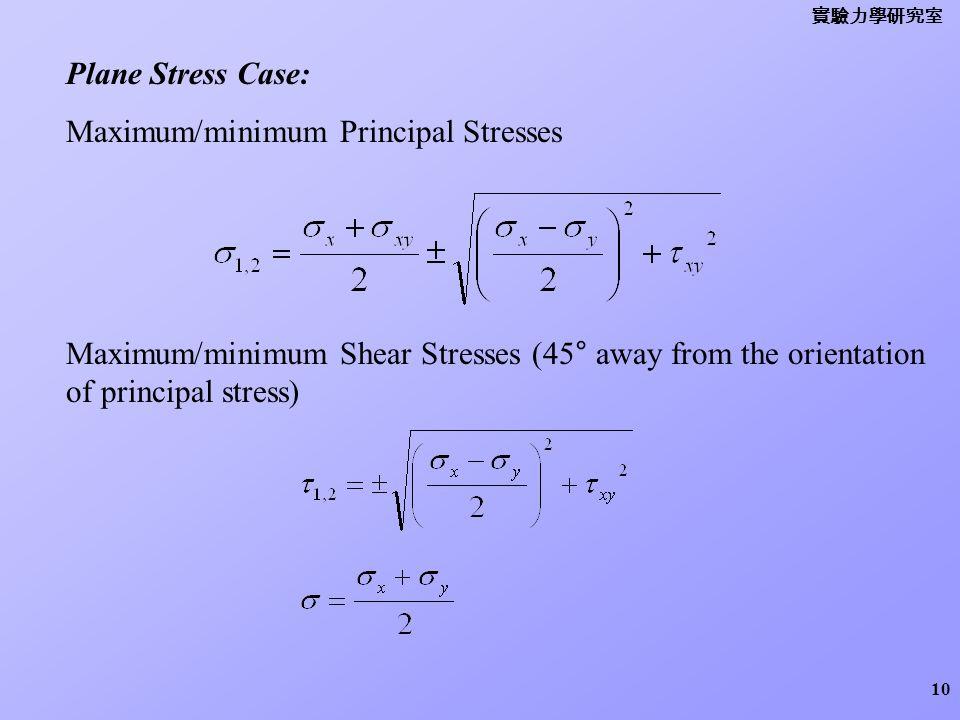 Maximum/minimum Principal Stresses