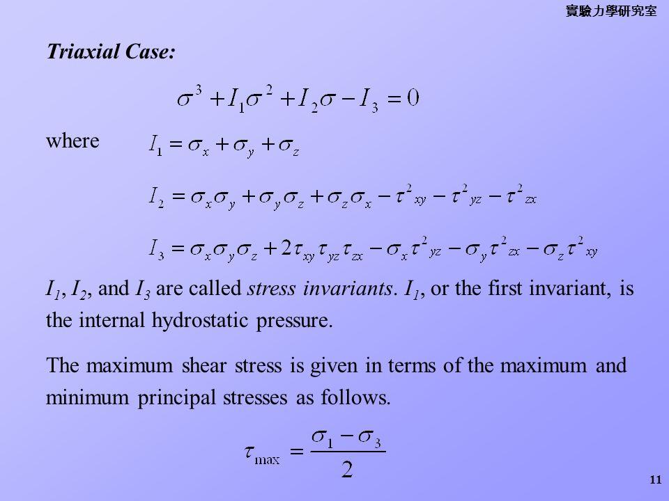 實驗力學研究室 Triaxial Case: where. I1, I2, and I3 are called stress invariants. I1, or the first invariant, is the internal hydrostatic pressure.