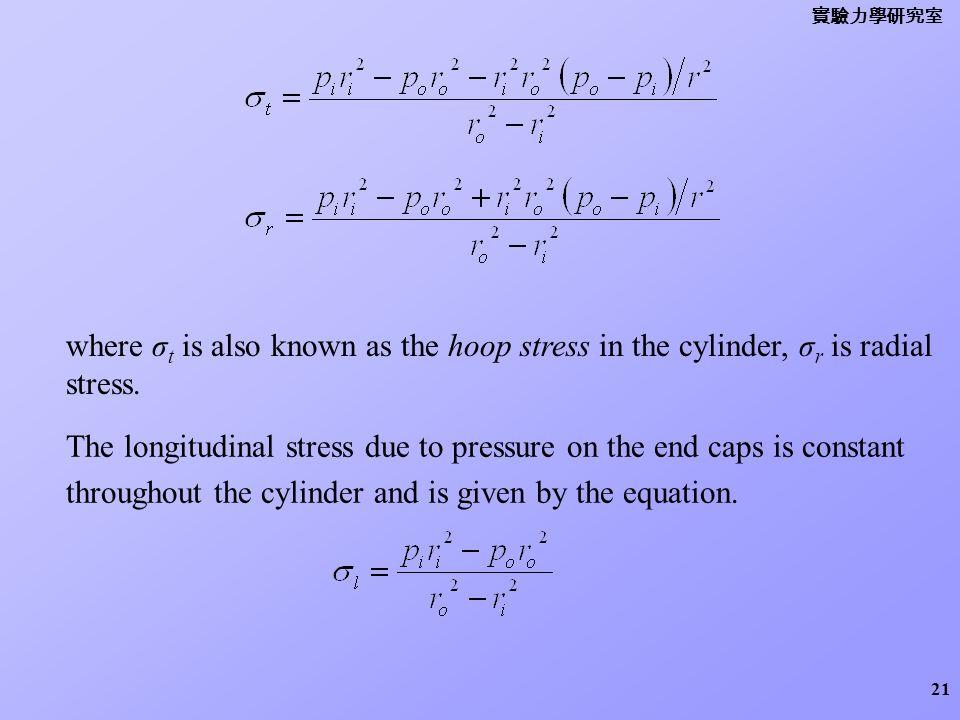 實驗力學研究室 where σt is also known as the hoop stress in the cylinder, σr is radial stress.