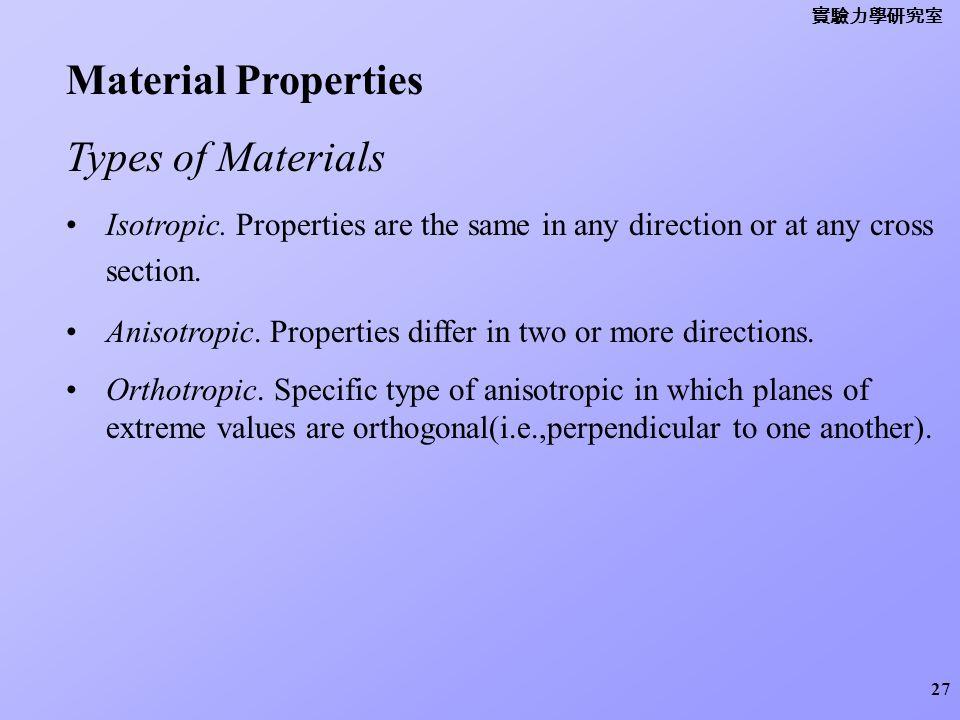 Material Properties Types of Materials