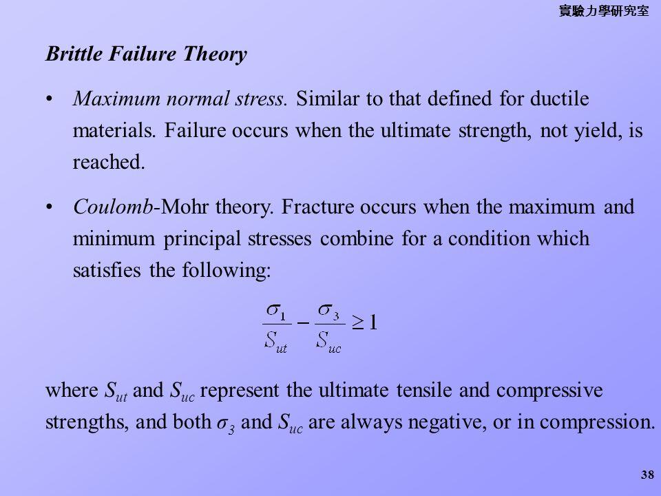 Brittle Failure Theory