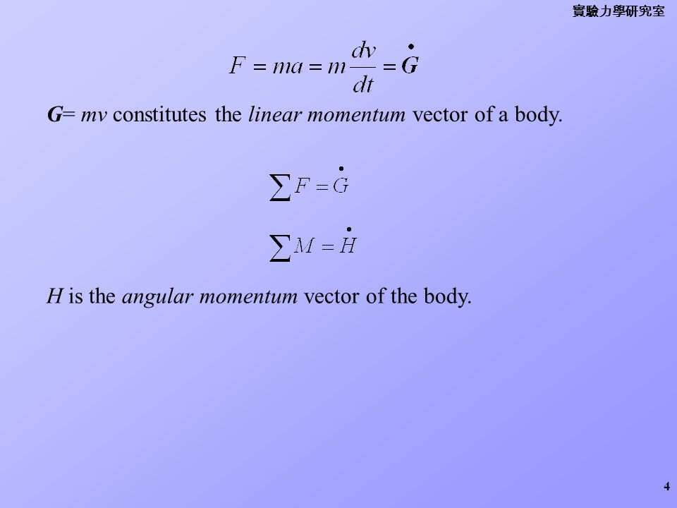 G= mv constitutes the linear momentum vector of a body.