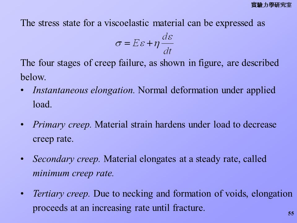 The stress state for a viscoelastic material can be expressed as