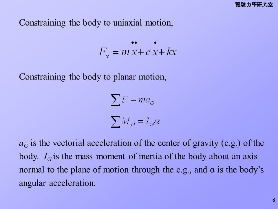 Constraining the body to uniaxial motion,