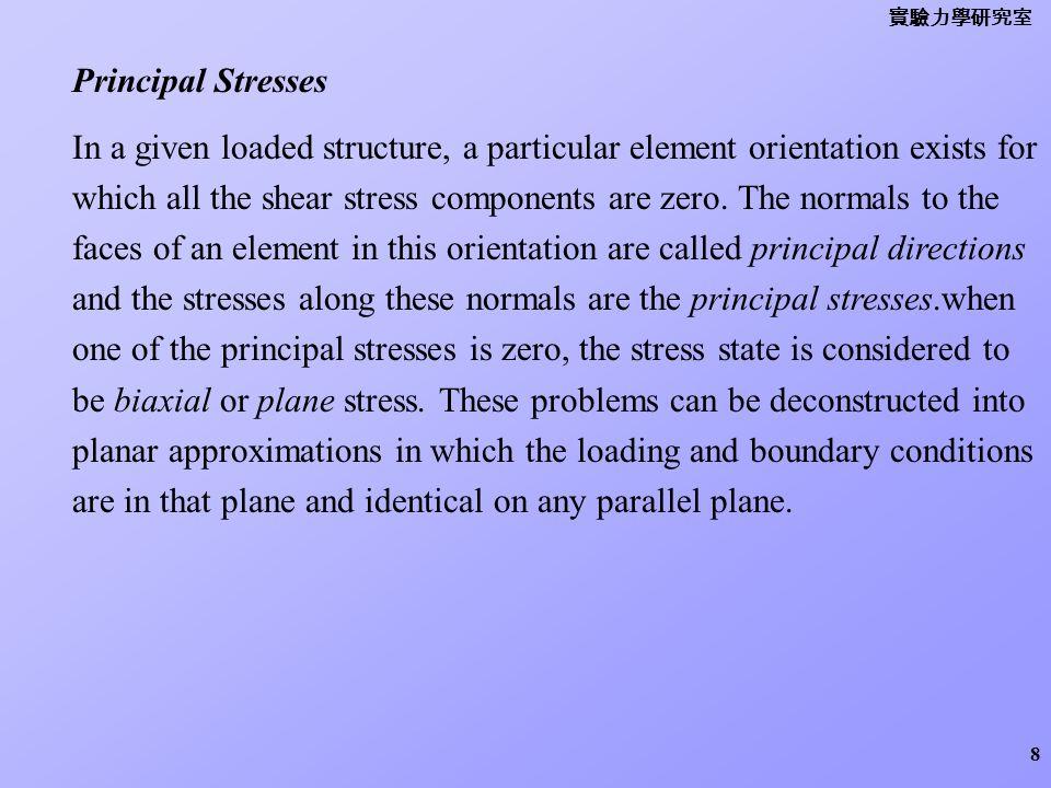 實驗力學研究室 Principal Stresses.