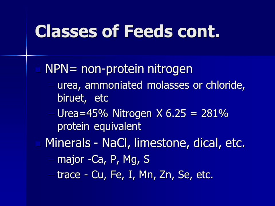 Classes of Feeds cont. NPN= non-protein nitrogen