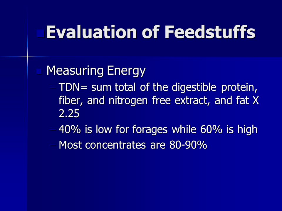 Evaluation of Feedstuffs