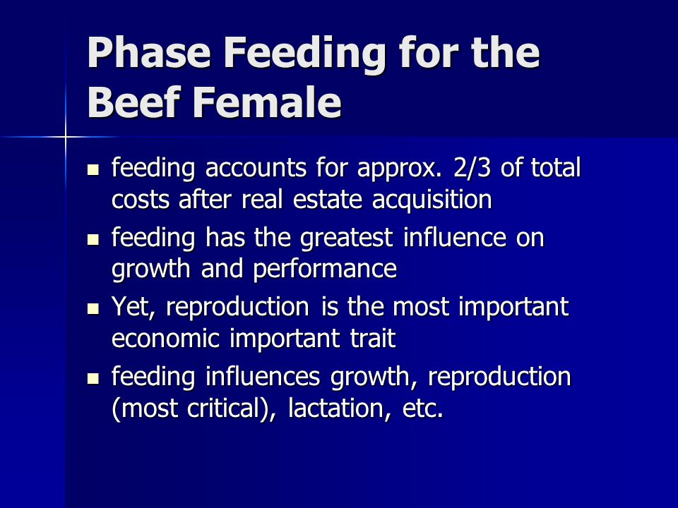 Phase Feeding for the Beef Female