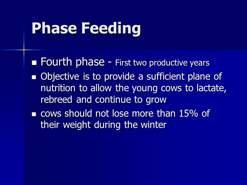 Phase Feeding Fourth phase - First two productive years